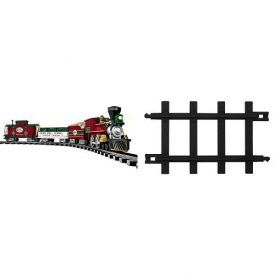 Product Features Set Includes: Battery powered General style locomotive and tender, gondola, and caboose This includes 24 curved and 8 straight plastic track pieces Additional 63 ft. of track Easily snaps together
