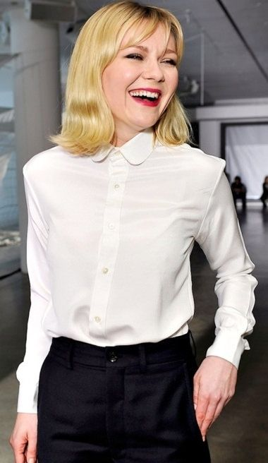 fe1b81bcfcf Kirsten Dunst Dressed For Formal Occasion In White Shirt And Black Dress  Pants