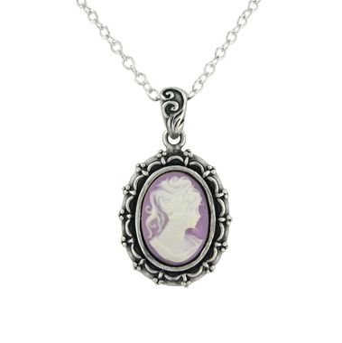 Sterling Silver Picture Frame Resin Cameo Necklace, Lavender