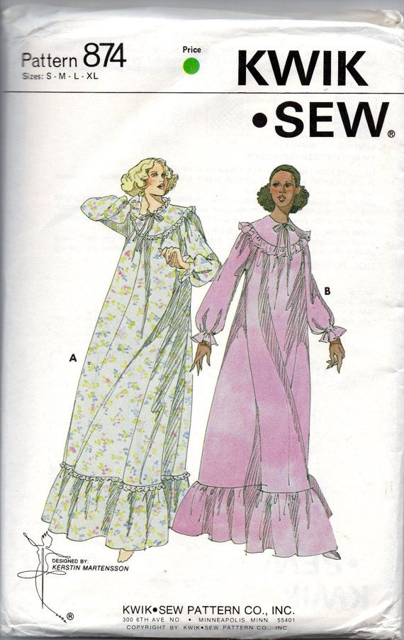 Kwik Sew 874 1970s Misses Nightgown Pattern Raglan Sleeve Womens ...