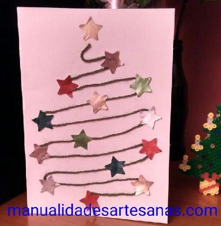 #Postal de #Navidad con #lana vieja y estrellas de #cápsulas #nespresso  #HOWTO #DIY #artesanía #manualidades