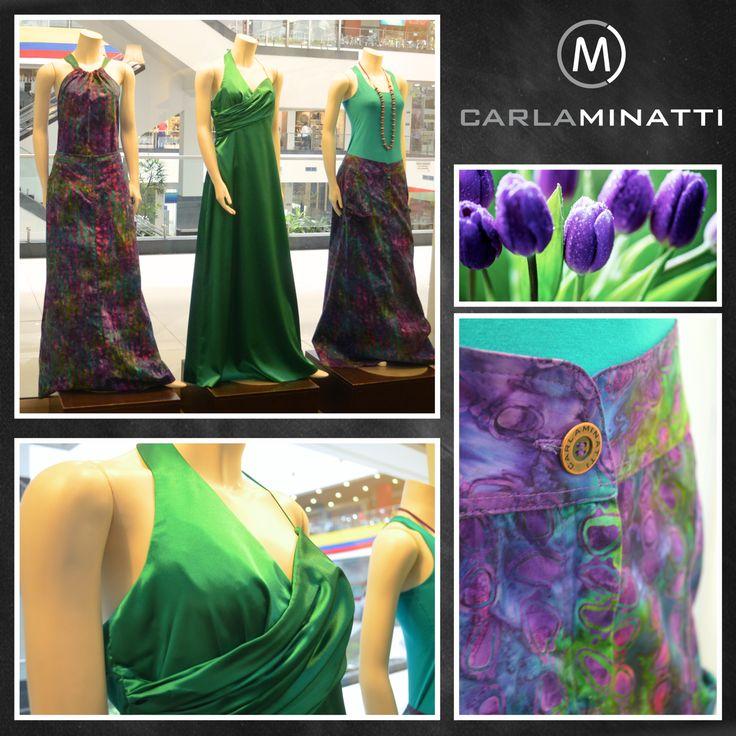 La combinación Violeta - Verde a pesar de estar hecha con colores fríos da un toque muy alegre como en este estampado en batik.