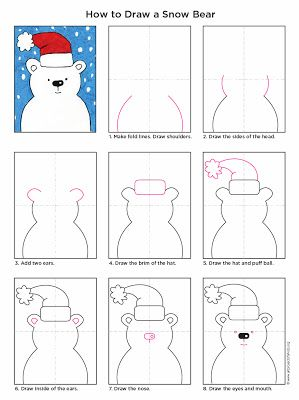 Art Projects for Kids: How to Draw a Snow Bear. Free downloadable PDF available. #artprojectsforkids