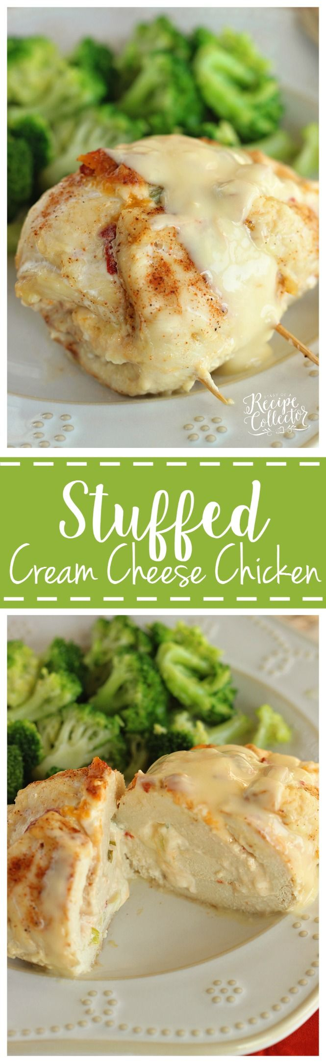 Stuffed Cream Cheese Chicken - Chicken breasts filled and rolled up with a delicious cream cheese spread and baked in the oven. They are such a nice change from the usual chicken dinner! (recipes with chicken oven)