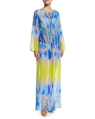 TAULS Etro Dip-Dye Paisley-Print Maxi Dress Coverup.  Etro has been a favorite for years.  I used to say I was a hippie with a really good job.  St. Laurent, the Getty's and Morocco all wrapped in 70's paper.