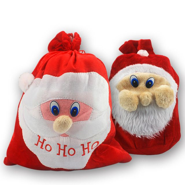 2017 New Christmas Gift Bag Wholesale canvas cotton elk Santa Claus Drawstring Bag Personalized Delivery Gifts Xmas Gift Bag