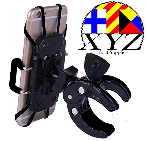 XYZ Boat Supplies® Cell Phone Mount/ Holder for Motorcycle / Bike Handlebars/ Boat, Iphone, Samsung, Smart Phone, Lifetime Warranty (Black). Universal Outdoor Cell Phone Mount for Bicyle, Motor Cycle, Boat, Stroller, Walker, Wheel Chair. Strong materials and easy to use clamp. Lifetime warranty.