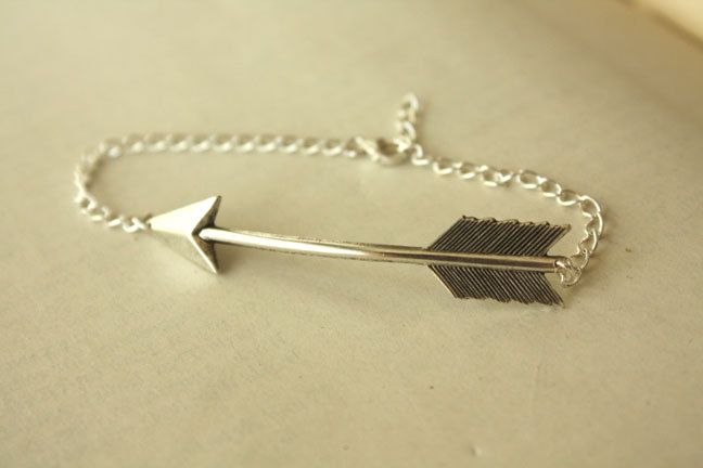 Silver Arrow BRACELET with Sterling Silver Chain. $40.00, via Etsy.