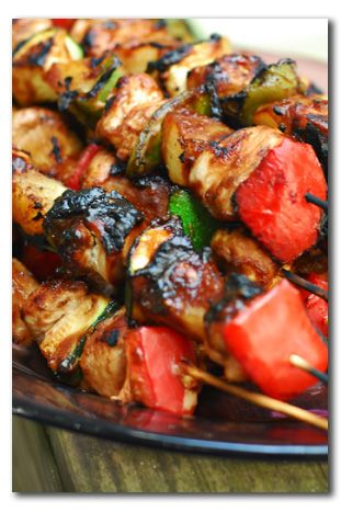 Barbecue Chicken Skewers with Pineapple, Bell Pepper, and Zucchini