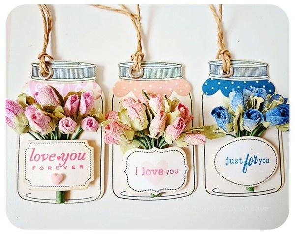 Vintage flower Jar tags - Two Peas in a Bucket