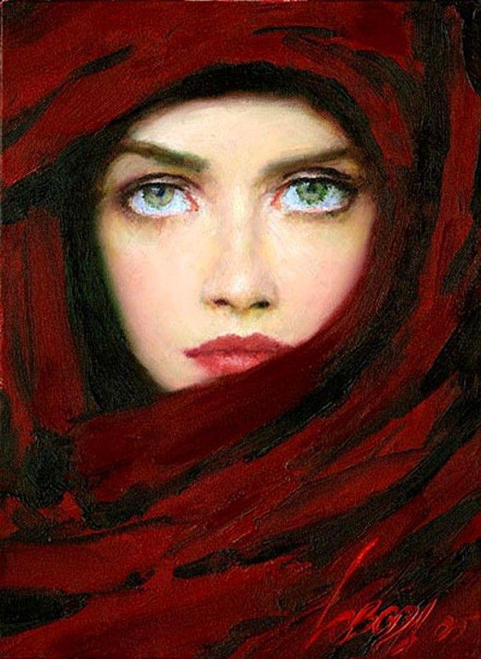 Yağlı boya kapalı kadın tablosu