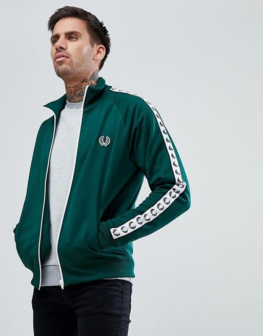 1ed9ba864 Fred Perry | Fred Perry Sports Authentic Taped Track Jacket In Green ...