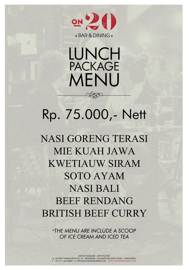 Sunday is the perfect time to get lunch out with family or friends. Here our list of the all new lunch package. For More Info +62411 3620800  #on20makassar | on20makassar.com