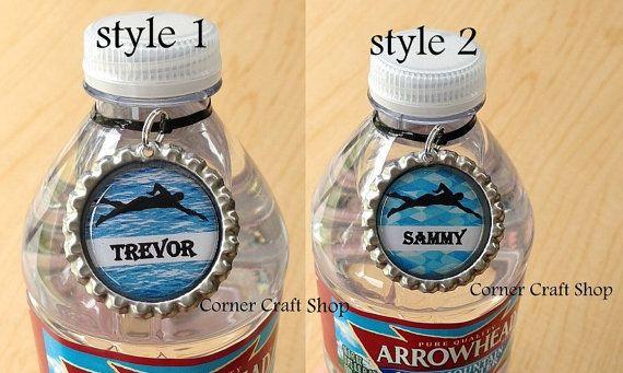 1 Personalized Name Swim Team Bottle Cap  Water by cornercraftshop