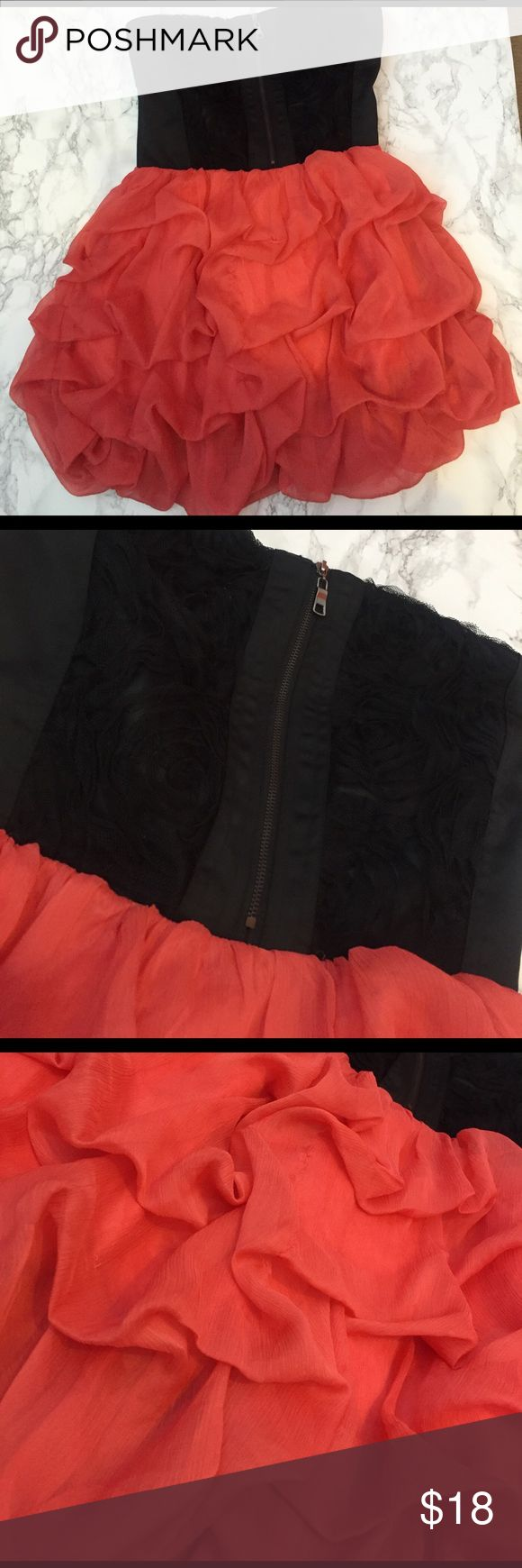 Ruffle party dress! Black & coral! Rosettes! NWOT Ruffle party dress! Black & coral! Rosettes! NWOT! Zipper too! Bought at a local boutique :) gracia fashion Dresses Mini