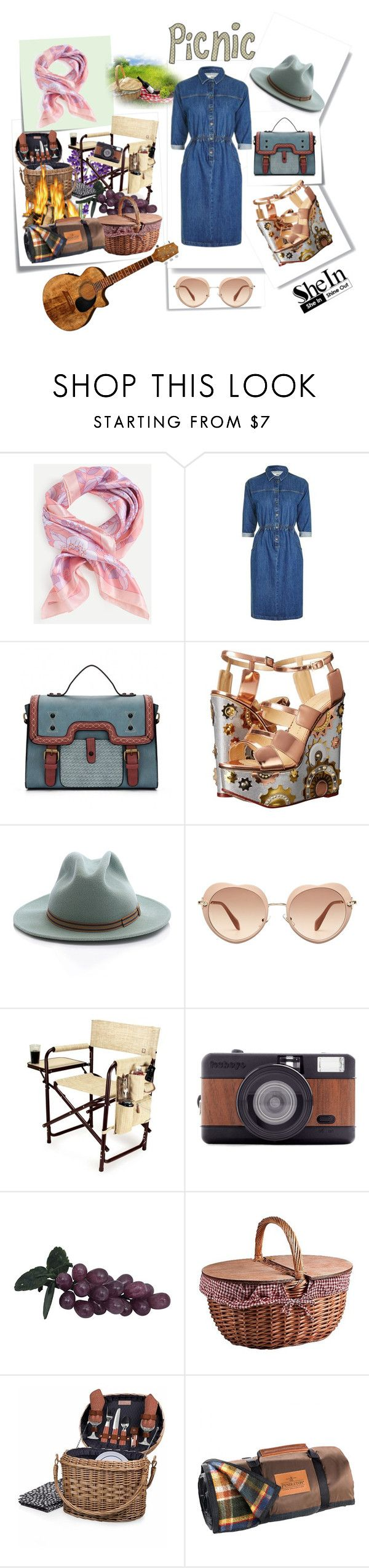 """""""Picnic"""" by cordelia-fortuna ❤ liked on Polyvore featuring Post-It, Topshop, Charlotte Olympia, Anthony Peto, Miu Miu, Picnic Time, Lomography and Pendleton"""