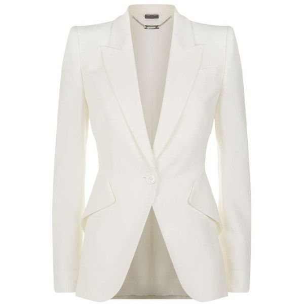 Alexander McQueen Peak Lapel Crepe Blazer (420.535 HUF) ❤ liked on Polyvore featuring outerwear, jackets, blazers, casacos, coats, blazer jacket, white blazer jacket, peak lapel jacket, tailored blazer and peak lapel blazer