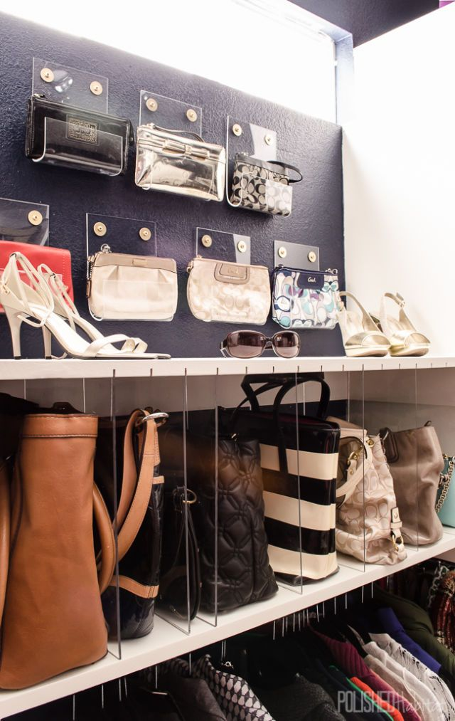 Fancy transparent purse holders transforms a cluttered closet into a sophisticated space that feels more like a high-end department store than storage.