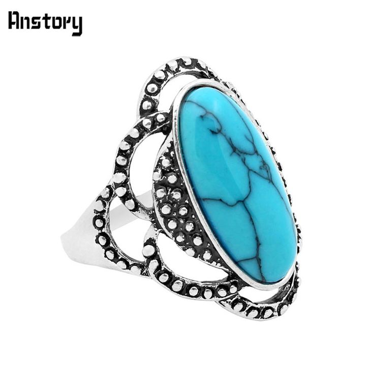 Fashion Jewelry Tibetan Alloy Antique Silver Plated Flower Oval Turquoise Rings R091