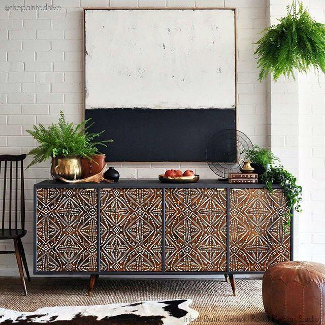 Upcycle Furniture with Tribal Batik Furniture Stencils - Royal Design Studio