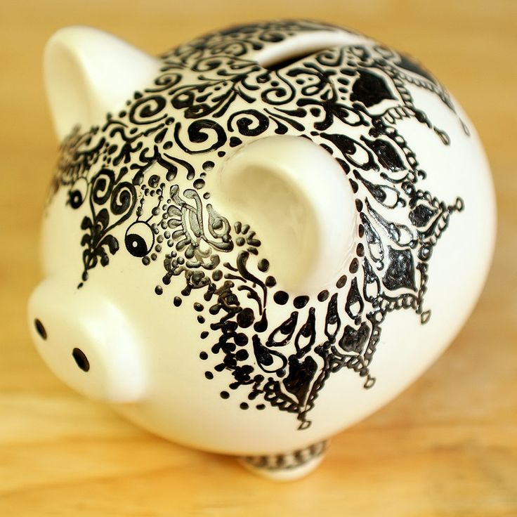Piggy bank henna designs and ceramics on pinterest for How to paint a ceramic piggy bank