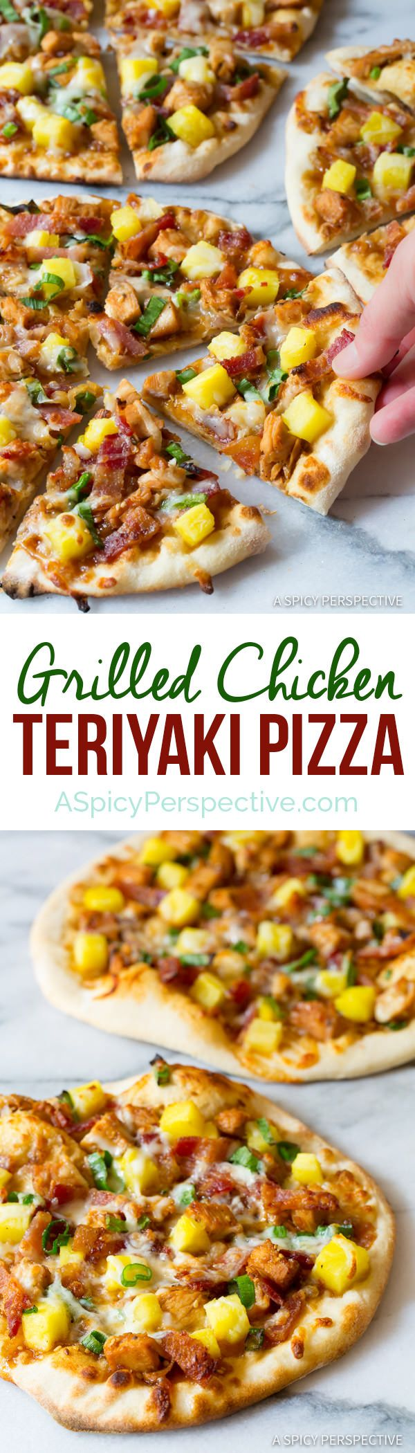 Easy Grilled Chicken Teriyaki Pizza | ASpicyPerspective.com #unlocktheawesome @soyvay