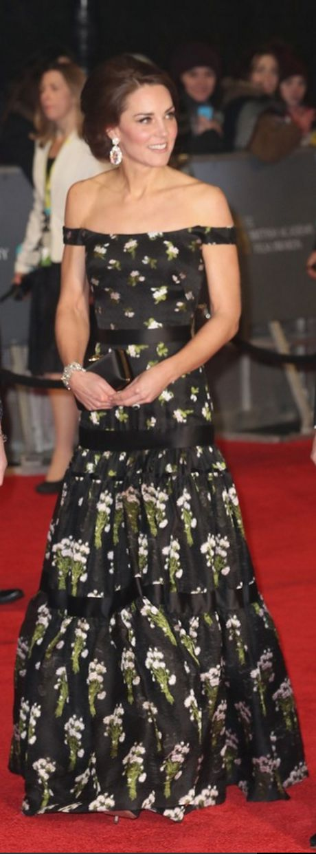 Kate Middleton: Dress and purse – Alexander McQueen  Bracelet – Royal Collection Philip Antrobus  Shoes – Prada