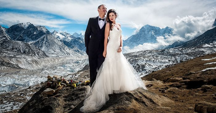 It's been said that love can move mountains, but one California couple has proven that it can also climb them. Ashley Schmeider and James Sisson felt that a run-of-the-mill wedding ceremony wasn't right for them - so they decided to get married on Mount Everest instead. As you can probably guess, their wedding photos are monumentally epic.