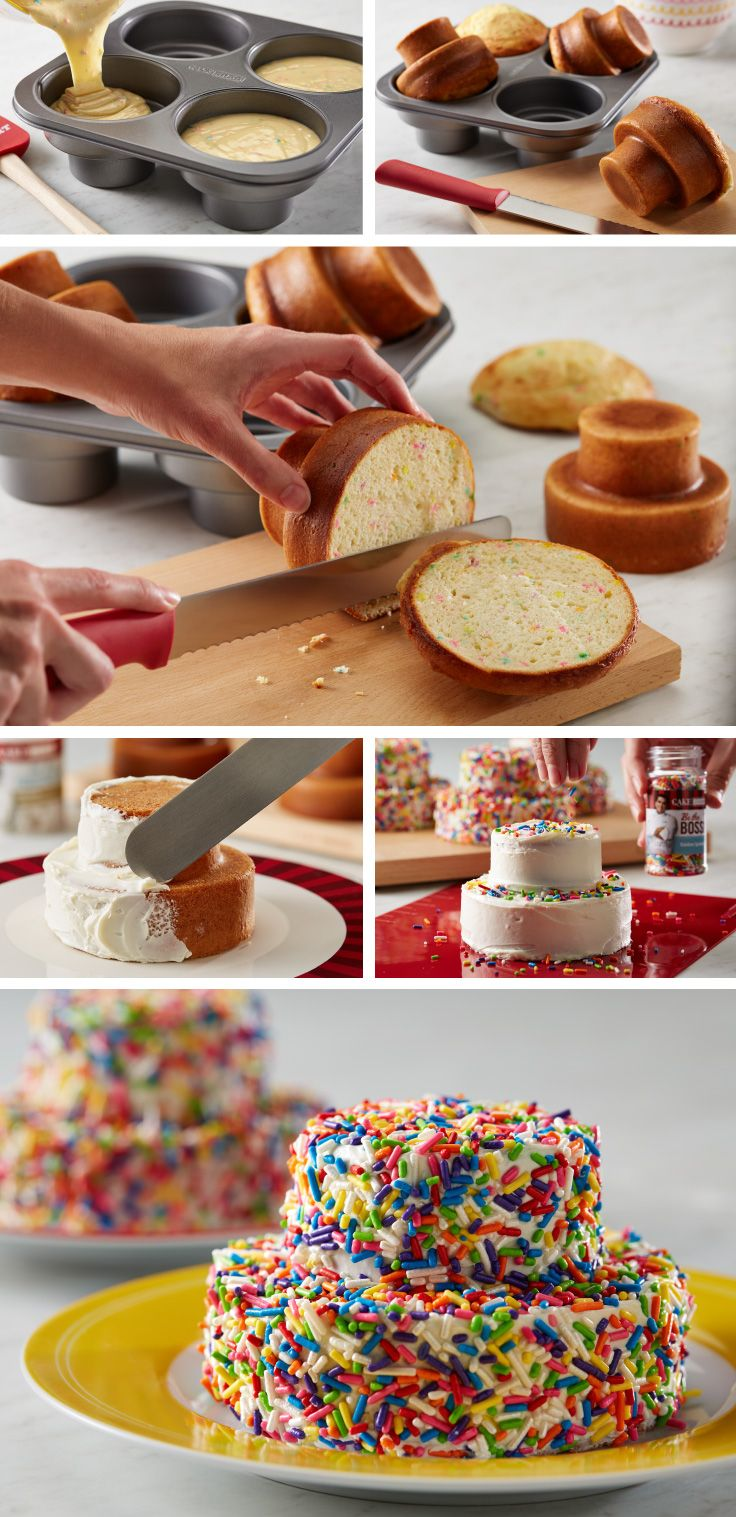 Get the kids involved with this easy cake decorating project. Fill Cake Boss® Tiered Round Cakelette Pan molds 1/2-3/4 of the way full. Bake and allow to cool before frosting. Cover frosted cakelettes with your favorite sprinkles. Click on the image to learn more about the Cake Boss® Tiered Round Cakelette Pan, available at @Michaels Stores.