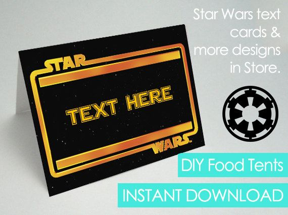 Star Wars Food Tents Editable Printable Star Wars by PaperCarousel