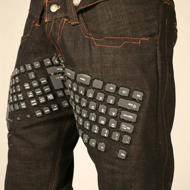 That's a working Bluetooth keyboard. The pants also feature integrated speakers and a wireless computer mouse.