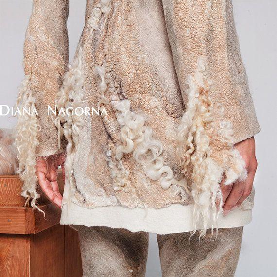 Nuno-felt jacket Felt coat white coat cardigan от DianaNagorna