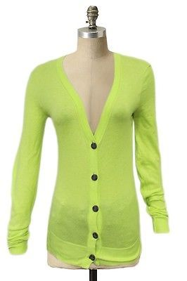 BDG Urban Outfitters Neon Yellow Button Up Cardigan S Extra Long Sleeves Casual