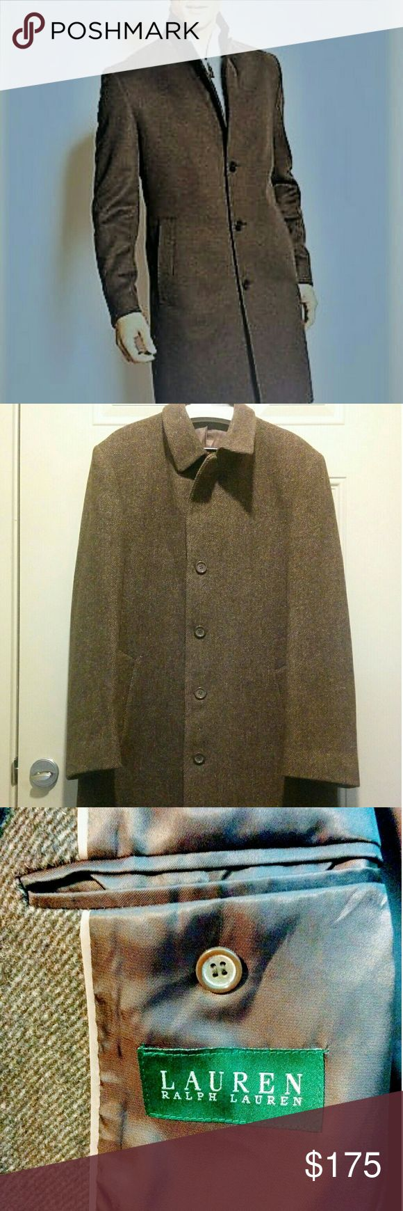 Lauren Ralph Lauren wool full length coat for men This is a Full Length pea coat for men, the color is brown in chevron pattern. It's practically new, I bought it for my husband and since his been doing diet now it's too big for him. It has 5 buttons, great for office outfits Lauren Ralph Lauren Jackets & Coats Pea Coats