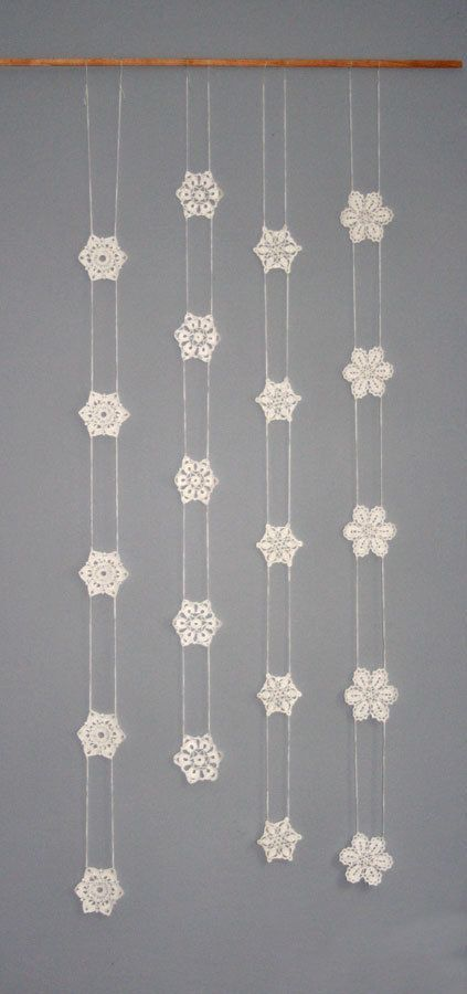 Crochet Garland Window Hanging Snowflake Garland by CAROcreated