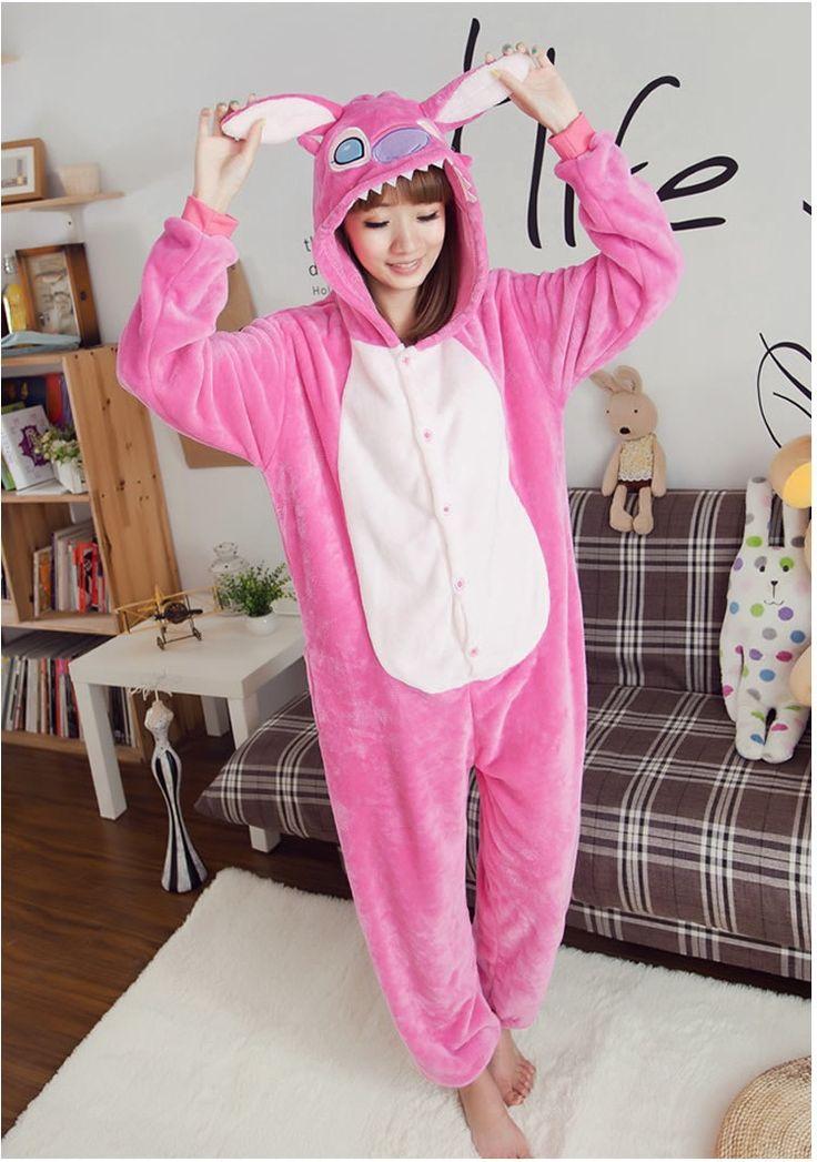 Flannel family animal pajamas one piece onsies onesies cosplay pink stitch onesie pijama stich pijamas enteros de animales