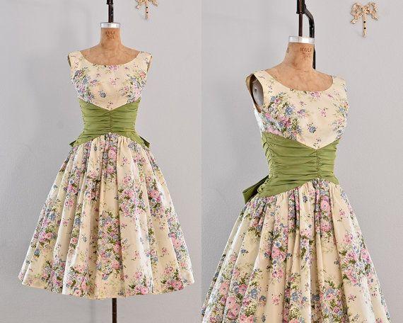 Jahrgang 1950 s Kleid Partei Kleid / floral von PickledVintage