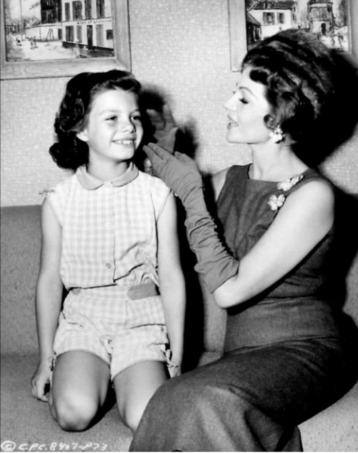 Rita Hayworth and her youngest daughter Yasmin Aga Khan -- she had another daughter Rebecca Welles (daughter with Orson Welles)