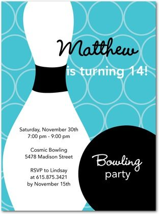 29 best Bowling party images on Pinterest Anniversary ideas - bowling invitation