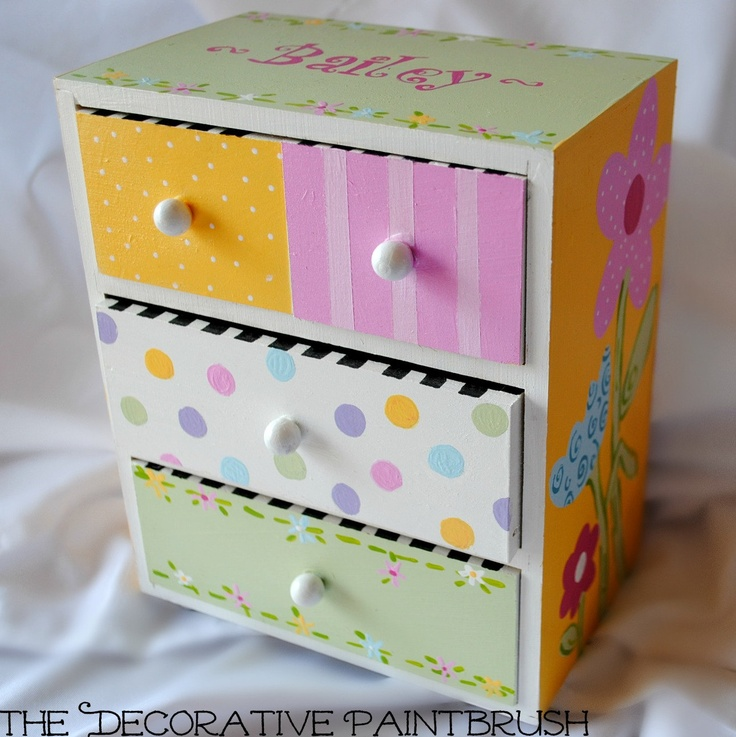 Painted Jewelry Box, Personalized Gift, Flower Girl Gift, Jewelry Box, Child's Jewelry Box, Custom Designed Jewelry Box,. $20.00, via Etsy.