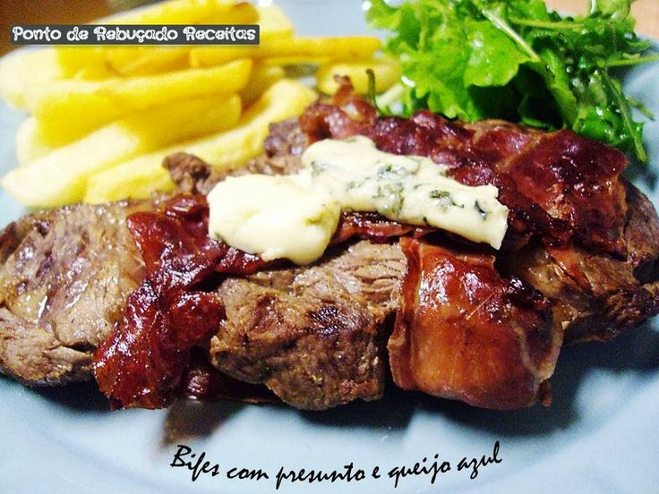 Steak with ham and blue cheese