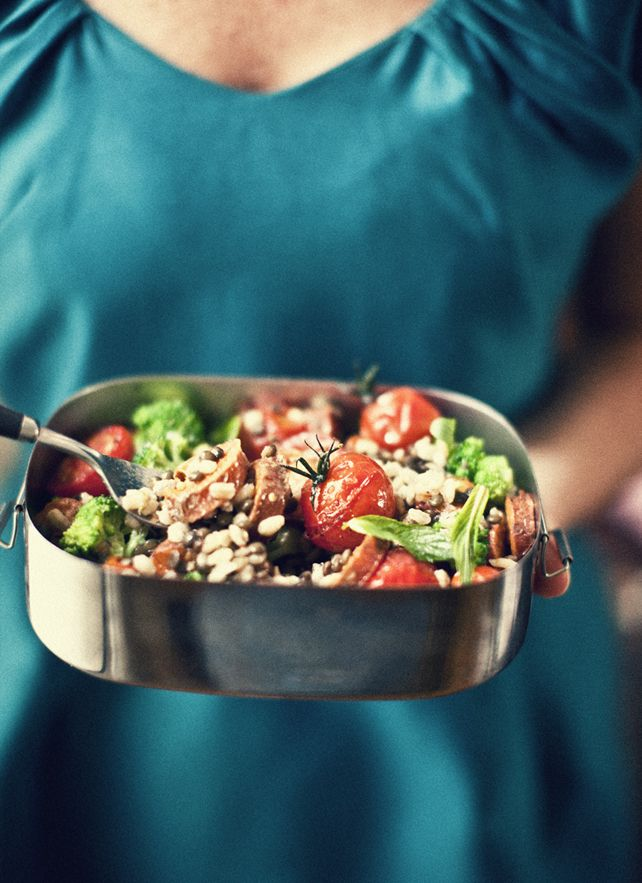 Lentils Salad, Roasted Baby, Offices Lunches, Baby Tomatoes, Spicy Mustard, Mustard Vinaigrette, Puy Lentils, Pearls Barley, Katy Ate