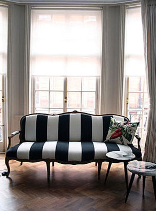 a black and white striped settee sofa home decor and interior decorating ideas
