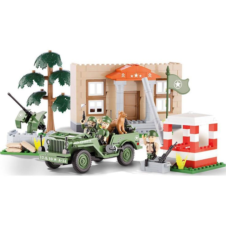 Cobi - Small Army Jeep Willys MB Barracks with Checkpoint - Multi Colored, COBI-24302