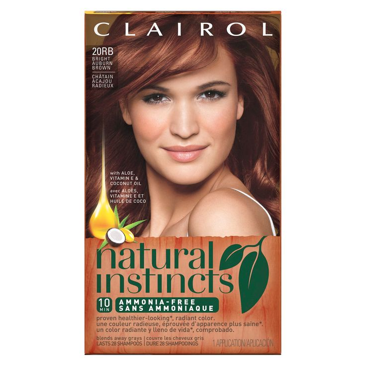 Clairol Natural Instincts Ammonia-Free Hair Color - 20RB Bright Auburn Brown - 1 Kit