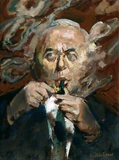 Harold Wilson by Ruskin Spear  Date painted: exhibited 1974 Oil on canvas, 51.1 x 38.1 cm  At forty-eight Britain's youngest Prime Minister since Pitt, Harold Wilson led a series of cabinets through the 1960s and 1970s which confirmed Britain's commitment to a welfare state. A gifted speaker and a skilful politician, he is portrayed in Spear's portrait with the air of hard-won informality that distinguished his public style.