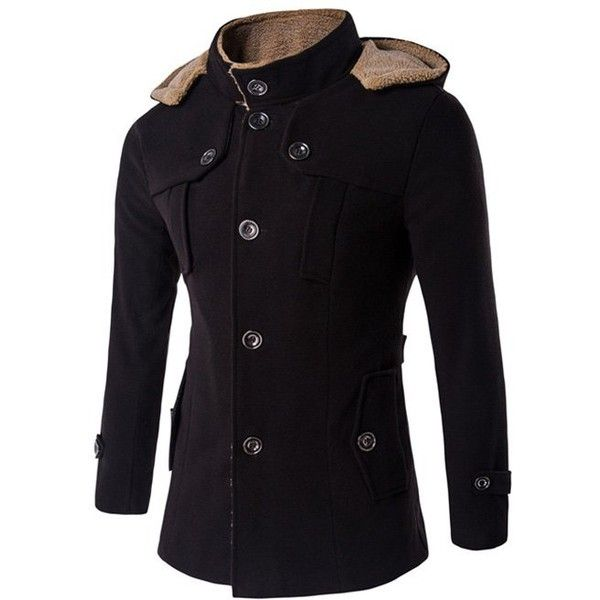 Plus Size Hooded Fleece Single Breasted Woolen Coat (89 BAM) ❤ liked on Polyvore featuring men's fashion, men's clothing, men's outerwear, men's coats, mens single breasted pea coat, mens fleece coat, mens wool coats, mens wool outerwear and mens single breasted wool coat