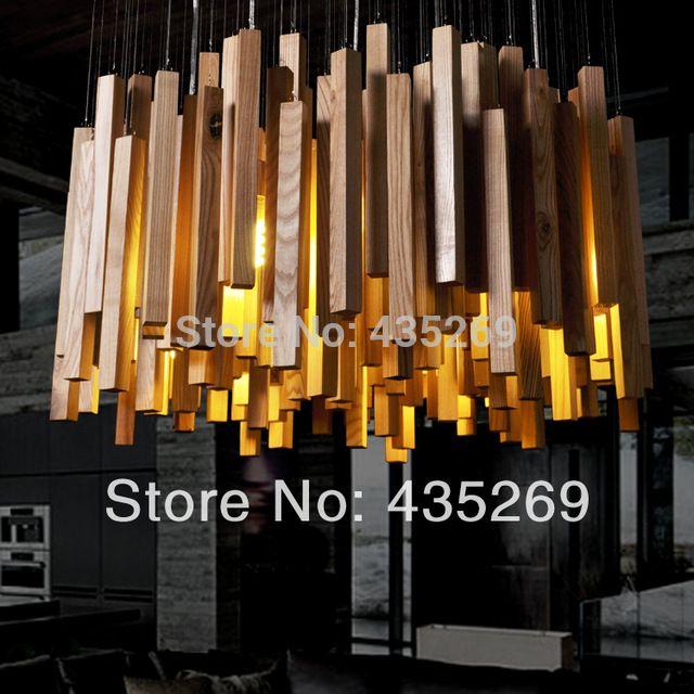 Hete! Hete! Hete! Creatief hotel van moderne kunst houten lampen, eetkamer, living led kroonluchter, licht en verlichting, gratis verzending