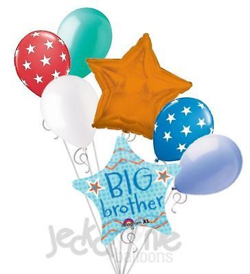 7 pc Big Brother Balloon Bouquet Welcome Home Baby Shower Boy Congratulations
