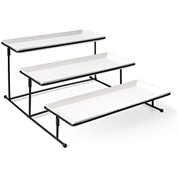 Sweese Serving Platter - 3 Tier Rectangular Porcelain Tray with Metal Rack